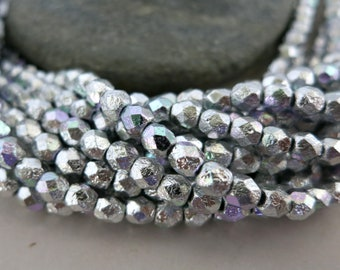 4mm Silver Rainbow Czech Glass Beads, Etched Fire Polished Seed Beads, Full Strand of 50 Beads