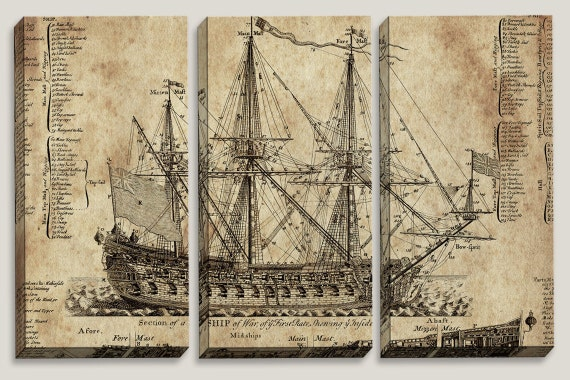 Old ship blueprint canvas art nautical map boys office malvernweather Gallery