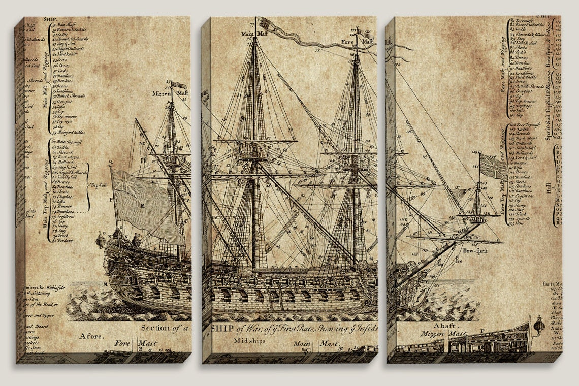 Old ship blueprint canvas art nautical map boys office zoom malvernweather Images