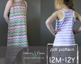 Deportivo Maxi vestido patrón y tutorial PDF 12m-12y fácil cosen tanque largo vestido túnica racerback
