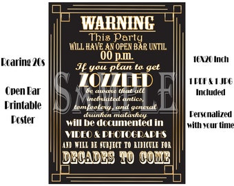 OPEN BAR Sign ~ 1920s Personalized 16X20 Printable Wedding Party Bar Time Poster ~ Roaring 20s Slang Zozzled ~ Drunken Malarkey Documented