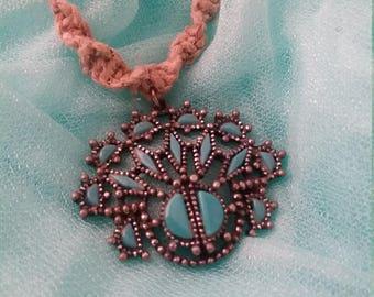 Blue Upcycled Macrame Necklace