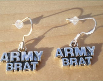 Army Brat Earrings, Silver Earrings, Charm Earrings, Jewelry Findings