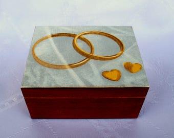 wedding ring box, wooden box, jewelry box, ring holder, nice gift