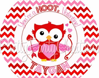 CUPID OWL Valentine favor tags -  YOU Print