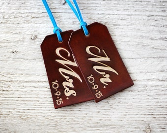 Personalized Luggage Tags, Genuine Leather His and Hers SET OF TWO, Custom Date 3rd Wedding Anniversary, Mr and Mrs Wedding Gift