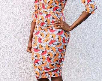 ANKARA Dress| Custom AFRICAN PRINT bodycon dress|stretch fabric|vlisco print