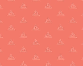 Coral Geometric Triangle Fabric - Prisma Elements by Art Gallery - Warm Thulite - Fabric By The Half Yard