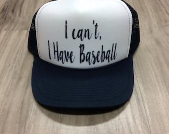 I Can't I Have Baseball Trucker Hat Baseball Trucker Hat Baseball Season Womens Trucker Hats Glitter Hat Baseball Hat Womens Trucker Hat
