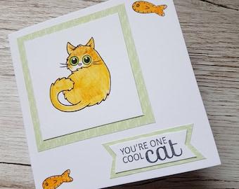 Ginger cat card / You're one cool cat card / Cute cat card / Thank you card / Friendship card / Ginger Ninja Crafts/ Multi use card