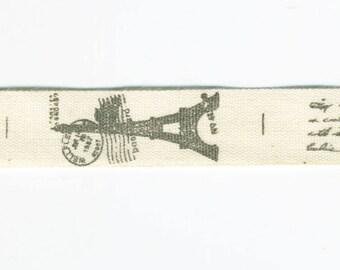 Eiffel Tower cotton Ribbon by the meter, Bonjour de Paris fancy braid