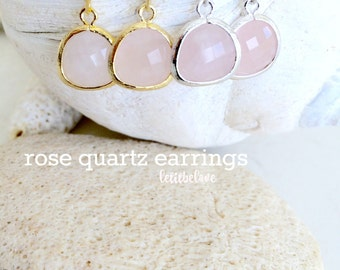rose quartz earrings dangle earrings rose quartz dangle earrings rose quartz jewelry gold earrings pink Beach Wedding Bridesmaid Gifts