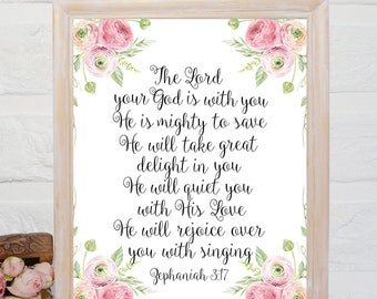Zephaniah 3 17 etsy the lord your god is with you bible verse wall art zephaniah 317 scripture stopboris Image collections