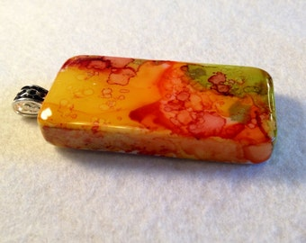 Alcohol Ink Pendant yellow orange green AIArt