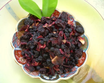 Berry Berry Tisane Herbal Tea 1 oz. 30 Grams Caffeine Free Slightly Tart and Full Bodied Fruit Rose Hips & Hibiscus Enjoy Hot or Cold