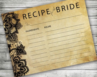 Recipe Cards for the Bride ~ Bridal Shower, Lace, Rustic, Printable 4x6, Vintage, Elegant Wedding Recipe Cards, Hostess Gift, Shabby Chic