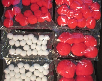 "96 red and white pom poms, 1/2"", 5/8"", 1"", 1.5"", 2"", for crafts, vintage stock, USA"