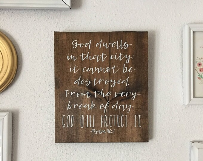 Hand Painted Wooden Sign Scripture Bible Verse Psalm 46:5
