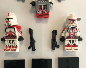 Building block Star Wars Mini-figures three Red White Clone Troopers with custom blasters