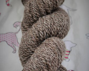 Hand spun, 105gms, natural, undyed, Blue Faced Leicester. DK. Wool, yarn.