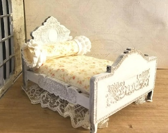 Elegant Miniature Dollhouse French Engraved Bed Frame real hardwood 1:12 Scale Old World Styling Unfinished or Finished Full or Queen