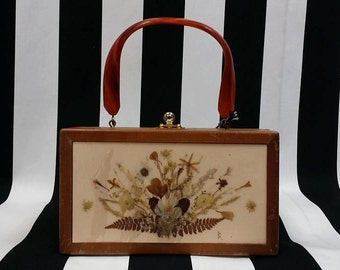 Vintage 1960s Wooden Box Purse from Lake Forest Illinois with Orange Lucite Handle Purse Bag Handbag