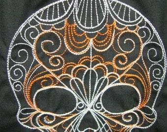 Orange and White Damask Dia De Los Muertos Skull Collage Eco Friendly Tote, Purse, Bag