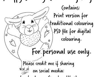Fluffy Bunny colouring page