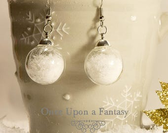 Earrings snowball, snow in globe - Once Upon a Fantasy