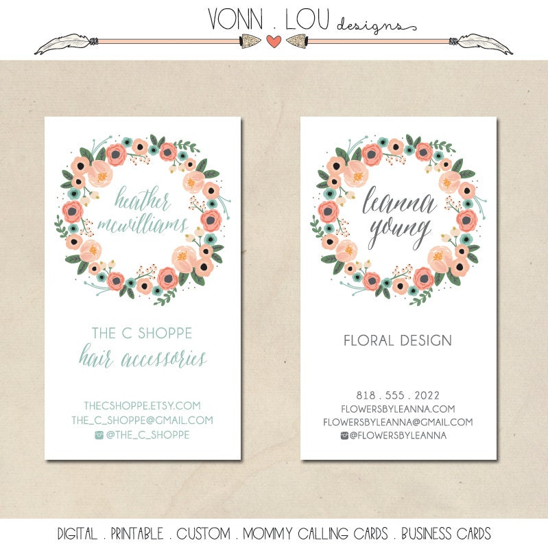 printable mommy calling cards hand illustrated floral wreath