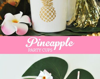 Pineapple Cups Pineapple Decor Pineapple Party Cups Pineapple Bar Cups Pineapple Bridal Shower Bachelorette (EB3104PN) - set of 25 CUPS