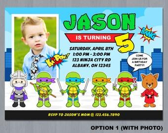 Ninja Turtle Invitation, Ninja Turtles Party, TMNT invitation, Teenage Mutant Ninja Turtle invitations, TMNT Birthday Invitation, TMNT