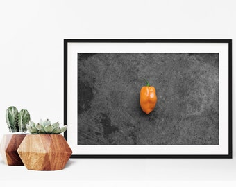habanero // food photography print // kitchen decor // kitchen wall art  // dining room wall art // rustic wall art // peppers