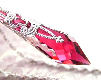 Pink Ruby Necklace Sterling Silver Swarovski Crystal Necklace Ruby Pendant Necklace July Birthstone Victorian Jewelry Teardrop Necklace