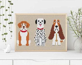 PATTERN: Dogs (4), Set of 3, Modern Cross Stitch Pattern, Cute Cross Stitch Pattern, Instant Download PDF