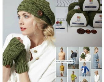 Hat and Fingerless Gloves Crochet Kit - Hat and Gloves Crochet Kit - Riverside Slouchie and Fingerless Gloves Kit by MJs Off The Hook Design