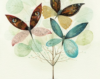 Butterlyptus Tree - Giclee Print - Delicate and Pretty