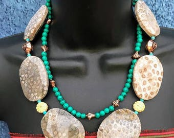 Statement Necklace, Coral fossil, Slab Nuggets, Turquoise, Unusual handmade necklace, Extroverts, Sophisticated, Colourful Jewellery, Copper