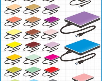 external hard drive clip art, instant download PNG files