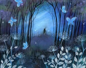 A fairy tale art print. ' Midnight' by Amanda Clark. Glastonbury Tor, landscape art, illustration
