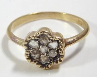 Handmade Vintage Style 14 karat Gold and Diamond Ring