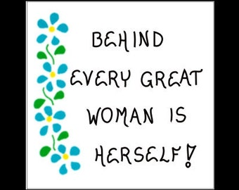 Celebrate Womens History Month - Inspiring woman quote, female confidence, blue cascading flowers, green leaves