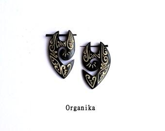 Bone Pin Earrings Tribal Style - Pair