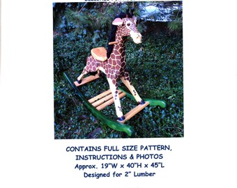 Large Deluxe Woodworking Plans for Rocking Giraffe for Kids 202 Rocker