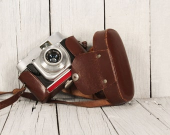 Camera Beirette - Model 2 Beirette - Vintage Camera Made in Germany - Viewfinder 70's - Brown leather case camera - Vintage travel camera