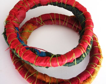 Ethnic autumn bracelets, stackable tribal bracelets, textile jewelry from pure silk sari ribbon, two pieces