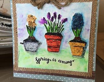 FRIEND Spring Season Original Handpainted Watercolor Flowers in Pots
