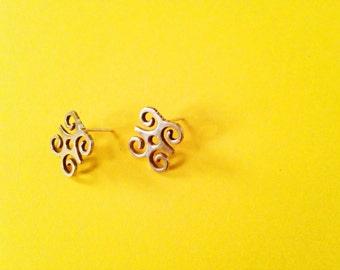 DWENNIMMEN Adinkra Stud Earrings// African Symbol Earrings, African Earrings, Adinkra African Symbols, Afrocentric Jewelry, African Jewelry