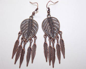 Copper Leaf Copper Feather Charms Chandelier Earrings