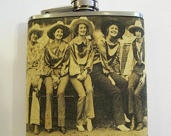 retro cowgirl flask vintage pin up girl Fifties rockabilly country western kitsch